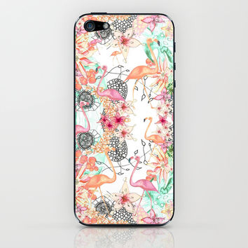TROPICAL FLAMINGO iPhone & iPod Skin by Monika Strigel | Society6
