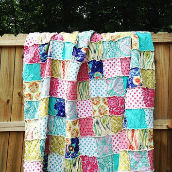 King Size Quilt, Rag, Happy Place, comfy cozy handmade bedding, Granny Chic in Modern Fabrics,