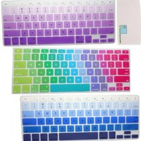 "Llamamia 3 White Keyboard Silicone Cover Skin for Macbook 13"" Unibody / Macbook Pro 13"" 15"" 17"" / Macbook Pro 15 with Retina Display / Mac Wireless Keyboard (New Rainbow A/Gradient Blue/Gradient Purple)"