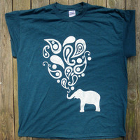 Midnight Blue Green T-Shirt with a White Paisley Elephant Graphic Swirly Design
