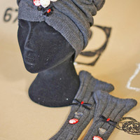 HALF PRICE SALE!  Ooak Fingerless Gloves Arm Warmers/Hand Warmers Bling Slate Charcoal Embellished Stretchy Knit Comfy Cuffs One Of A Kind