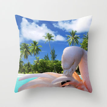 Pink flamingo Throw Pillow by Erika Kaisersot