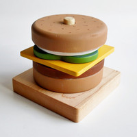 Stacking Toy, Wooden Cheeseburger Toy, Cheeseburger, Waldorf puzzle, Toddler Stacking Toy, games and puzzles