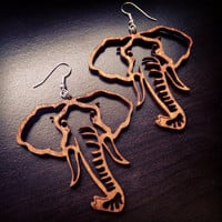 Large Wood Elephant Head Outline Earrings