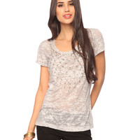 Embellished Burnout Tee | FOREVER21 - 2000033879