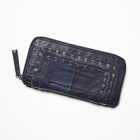 Free People Womens Atticus Leather Wallet - Navy, One Size