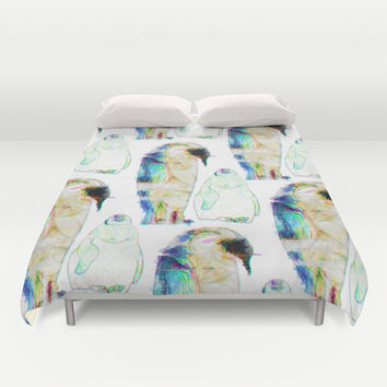 Remix Emperor Penguins Duvet Cover by Ben Geiger