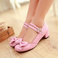 Hot Mary Janes Buckle Strap Low Heel Pumps Womens Lolita Bowknot Shoes Plus Size