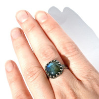 Square Labradorite Gemstone Ring Handmade in Sterling Silver- Size 7