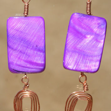 Purple Mother of Pearl Shell Earrings by LesleyPridgen on Etsy