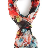 Long Scarf with Large Floral Print