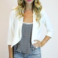 Cropped Lapel Blazer in White | Umgee