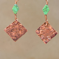 Hammered Copper Square Earrings with green by LesleyPridgen