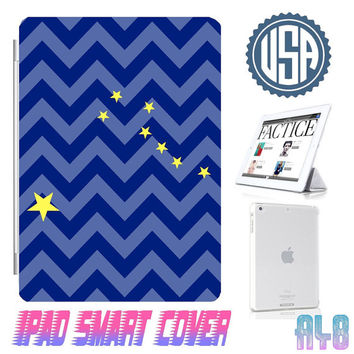 Alaska Flag Chevron Ipad Smart Cover @ IPad Air Smart Cover , IPad Mini Case , IPad 4 , Ipad 3 Ipad 2 Magnetic Sleep Wake  IPhone 5 4 Case