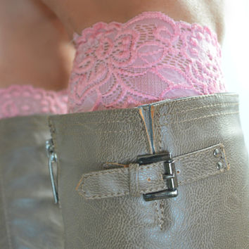 Pink Lace boot cuffs, boot lace accessories