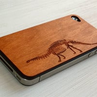 Brontosaurus Etching on Real Wood iPhone by grandmaswoodentooth