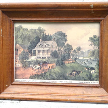 "Mid Century Currier & Ives Lithograph ""American Homestead Sumer"" Vintage Decor Rural Art Print"