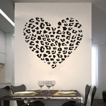 Leopard Cheetah Heart Animal Print Wall Art Decal Sticker Quotes Decor DIY Vinyl Lettering Saying Mural Art Decor Room Home