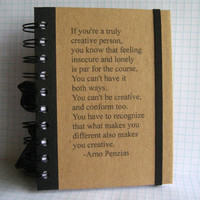 Journal Notebook Creative Quote Handmade Paper Goods by by zany