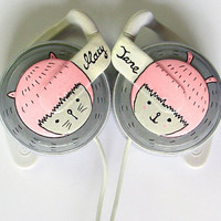 Girly headphones earphones handpainted by ketchupize