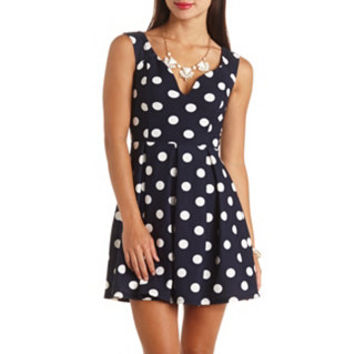 PLUNGING SWEETHEART POLKA DOT SKATER DRESS