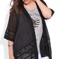 Plus Size Short Sleeve Kimono with Lace Insets