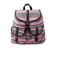 TRIBAL STRIPED CANVAS BACKPACK
