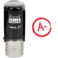 Round Teacher Stamp - GRADE A- RED INK