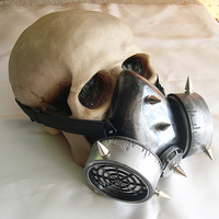 STEAMPUNK Chemical Nuclear Fall Out Biological Warfare Respiratory Gas Mask with Spikes-A BURNING MAN Must Have - Pewter Silver Look