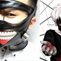 Cos Cosplay Cool Tokyo Ghoul Kaneki Ken Adjustable Zipper Masks PU Leather Mask