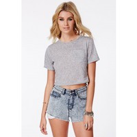 Missguided - Veena Melange Pocket Detail Cropped T-Shirt