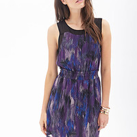 Sheer-Paneled Printed Dress