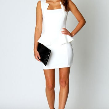 Olivia Square Neck Peplum Bodycon Dress