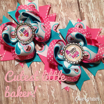 Cutest little baker boutique hair bow set ready to ship!
