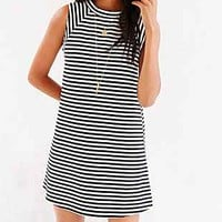 BDG Mod Stripe Mock-Neck Trapeze Dress - Urban Outfitters
