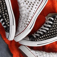 Spike Studded CONVERSE Brand new Hand made by NiceReworkedVintage