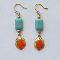 Orange and Turquoise Gold Earrings by FantasyBeadDesigns on Etsy