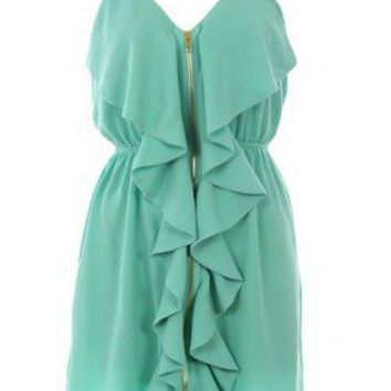 Green Tiered/Ruffle Dress - Front Zipper Dress | UsTrendy