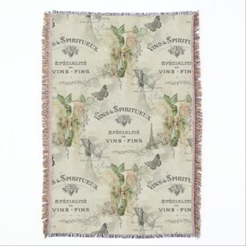 Paris Vintage Wine and Roses Throw Blanket
