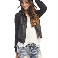 Fleece & Faux Leather Bomber Jacket | Wet Seal