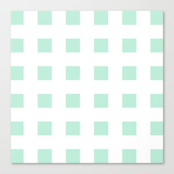 Cross Squares Mint Green Stretched Canvas by BeautifulHomes | Society6
