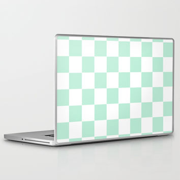 Checkers Square Mint Green Laptop & iPad Skin by BeautifulHomes | Society6