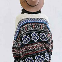 Ecote Flora Open-Front Cardigan- Black Multi
