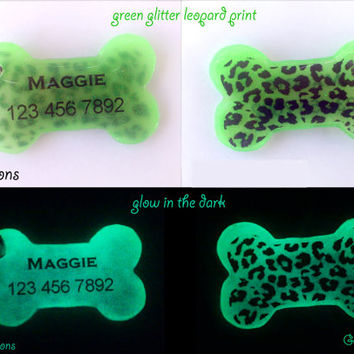 Leopard Print Bone Dog Tag - Green glitter Glow in the Dark - Animal Print Dog ID Pet Tag - Resin Handmade DogTag -Cute Dog Collar Accessory
