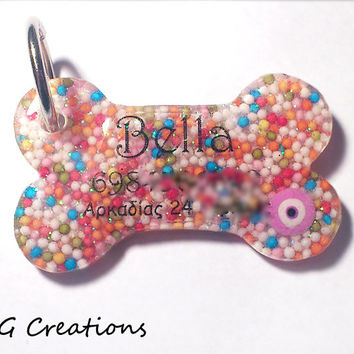 Rainbow Sprinkles Bone Dog ID Tag - Colorful Girlie Cute Waterproof Dog Tag Pet ID - Personalized Custom Handmade Resin Dog Collar Accessory