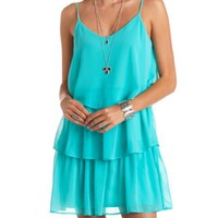 TIERED CHIFFON RUFFLE SHIFT DRESS