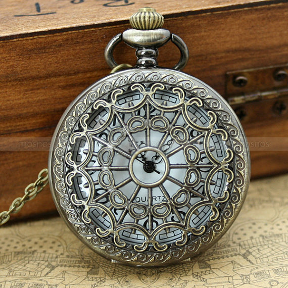 Pocket watchvintage locket necklace with heart zodiac by mosnos