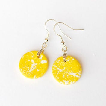 Small yellow earrings. Yellow dangle earrings. Sensitive ears. Sterling earwire. Canary yellow earrings. Dangle earring. Minimalist earring.