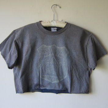 Distressed Bleached Out & Faded Hipster Crop Top in Faded Navy/Gray -- NJ Jersey City Police Dept. -- Grunge Revival Clothing