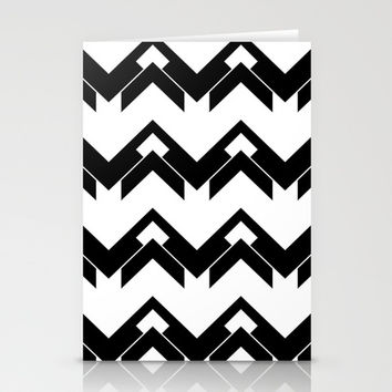chevron pattern in black and white Stationery Cards by VanessaGF